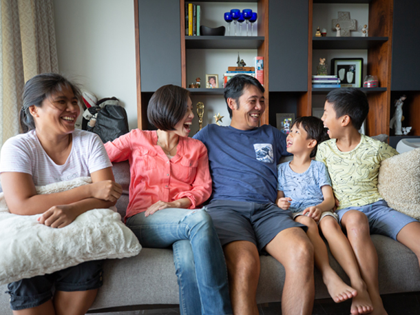 Family living in a condo in Orchard