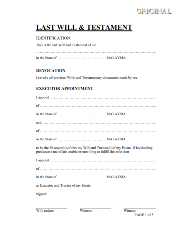 Will and testament template Malaysia 1
