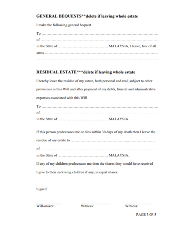 Will and testament template Malaysia 3