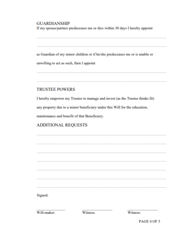 Will and testament template Malaysia 4