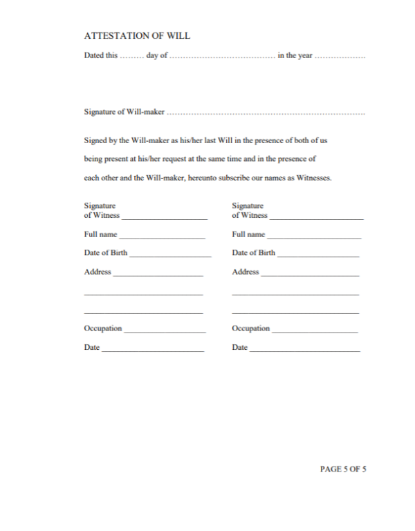 Will and testament template Malaysia 5