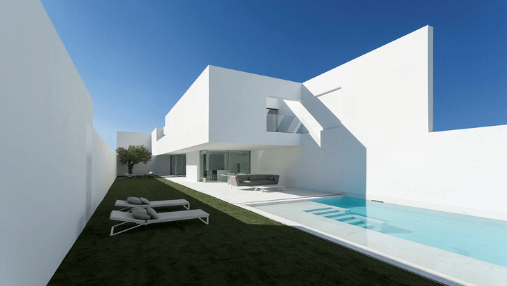 Kolam kontemporer minimalis menyatu dengan bangunan utama. (Sumber: Cdnhome-designing.com)
