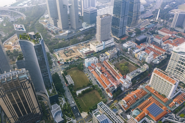 Above: Aerial view of the Guoco Midtown site under construction. Image source: GuocoLand