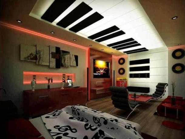 Plafon musik cocok untuk kamar remaja dan ruangan musik di rumah. (Foto: Home Esthetic)