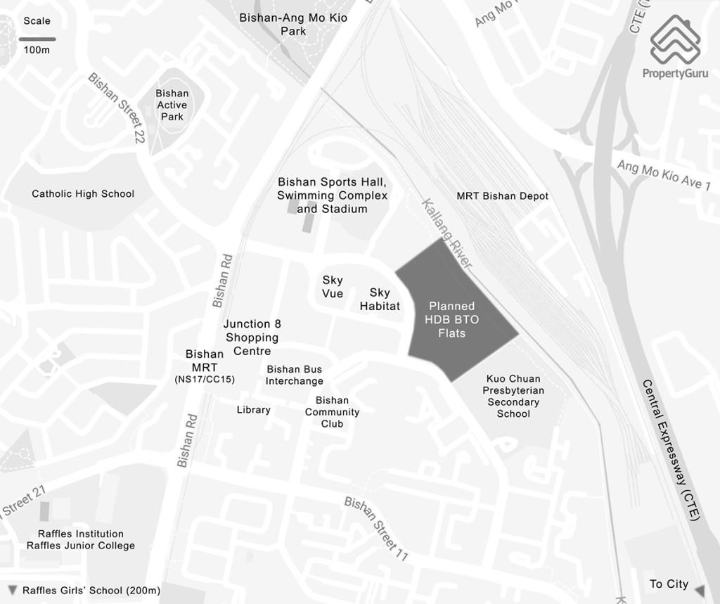 Bishan HDB BTO flats map