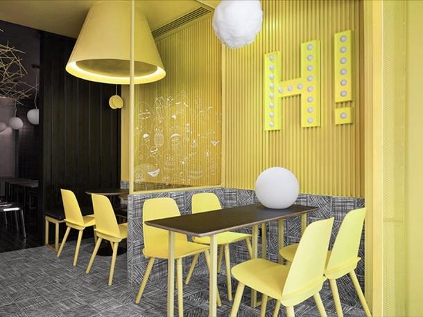 Berani bermain warna, membuat restoran Anda jadi unik. (Foto: designboom.com)