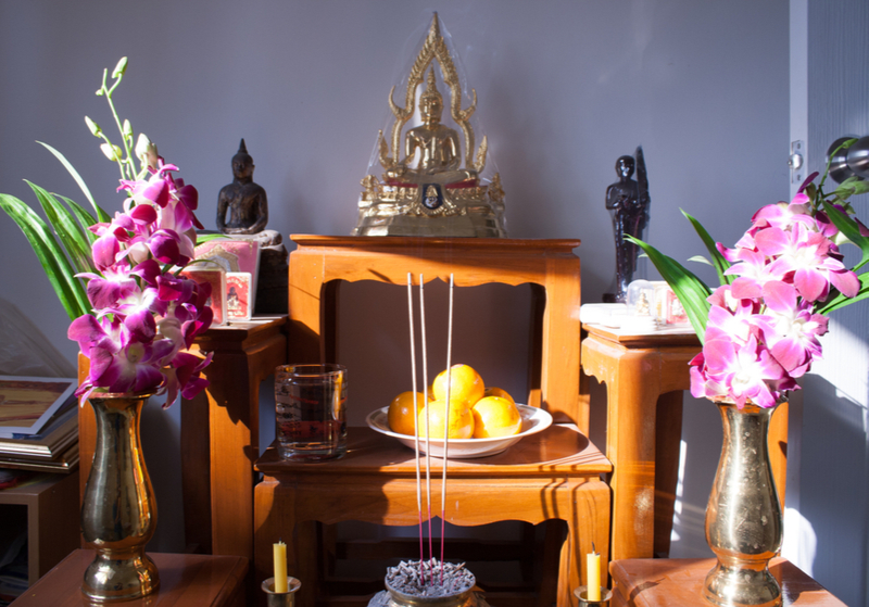 ตัวอย่างการจัดลำดับพระและของบูชาบนโต๊ะหมู่บูชาพระ