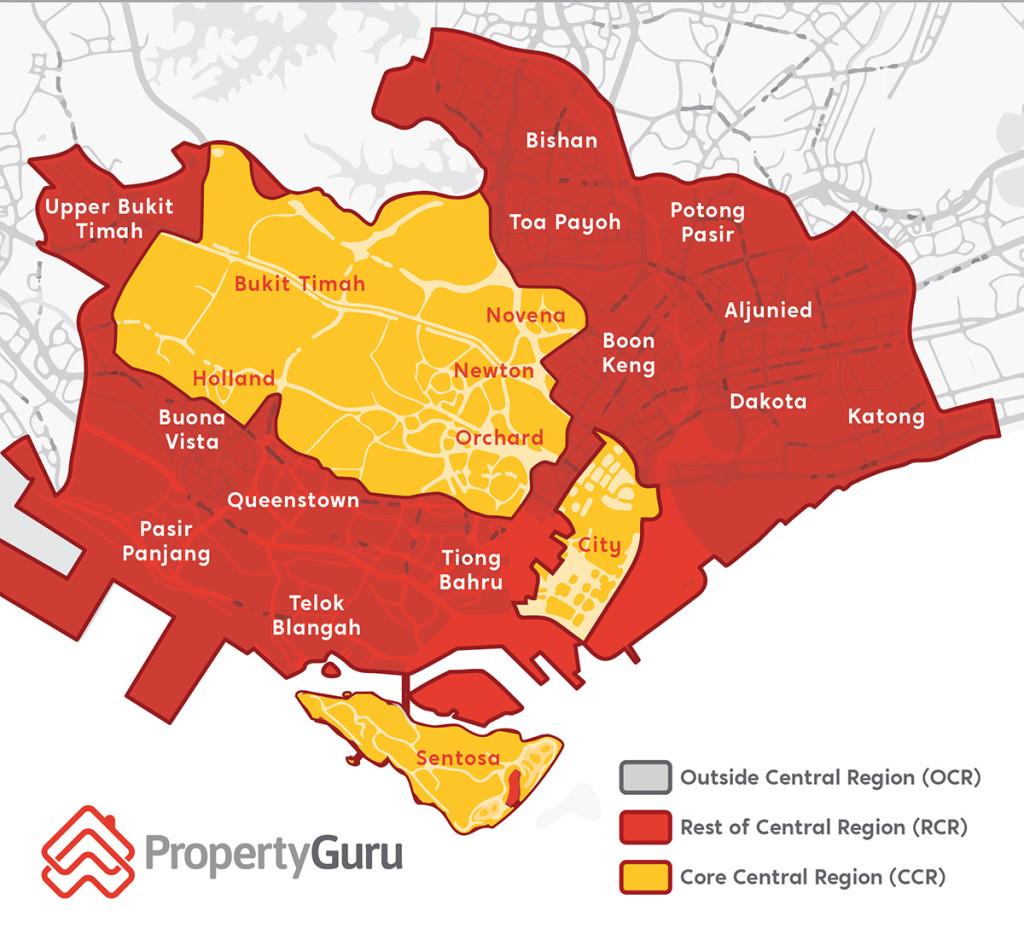 CCR OCR RCR city fringe Singapore property map
