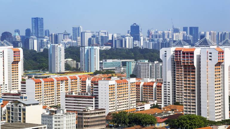 Colourful high-rise apartments in Singapore against the skyline
