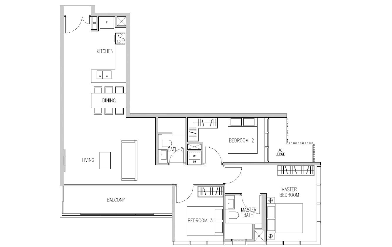 Van Holland three bedroom floor plan