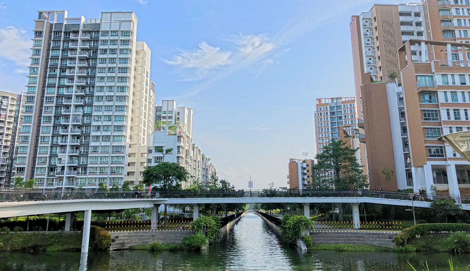 HDB towns typically integrate greenery to create a more sustainable environment for residents