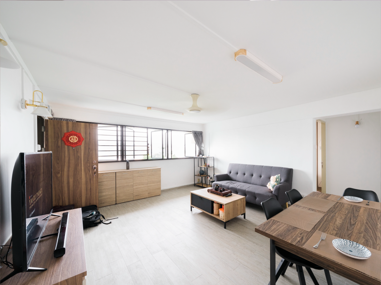 Living room of Randy's and Amy's four-room flat in Kallang