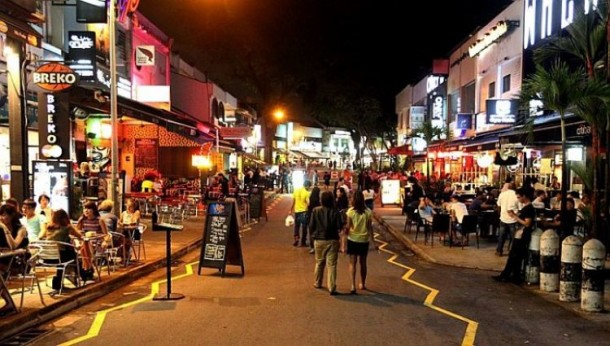 Holland Village by night, Singapore