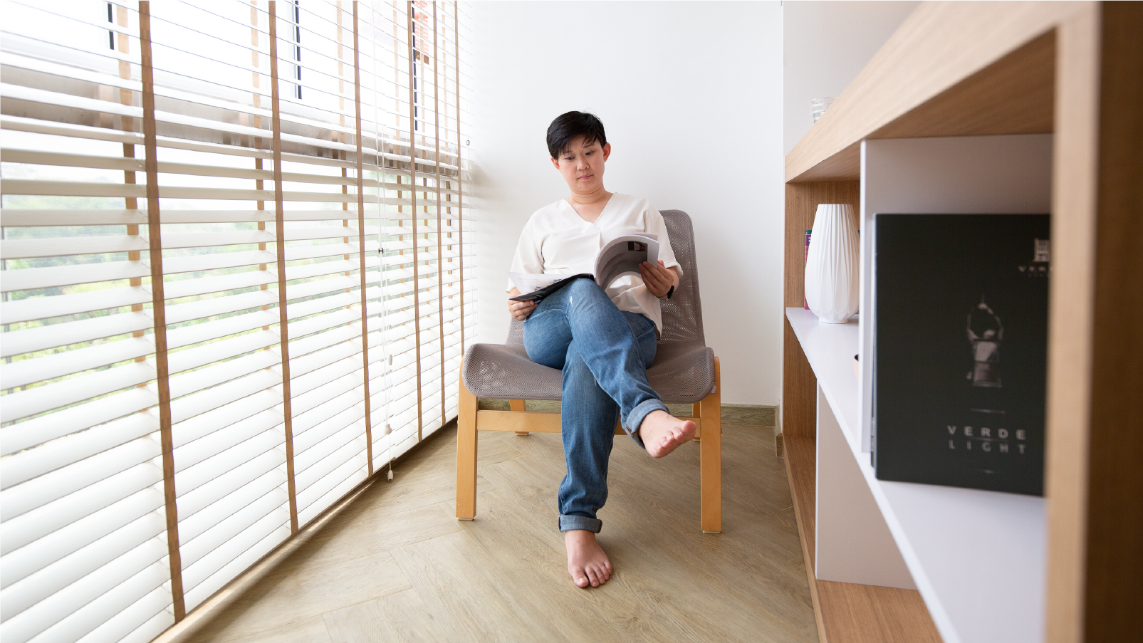 Hazel Chew in her five-room HDB flat in Tengah