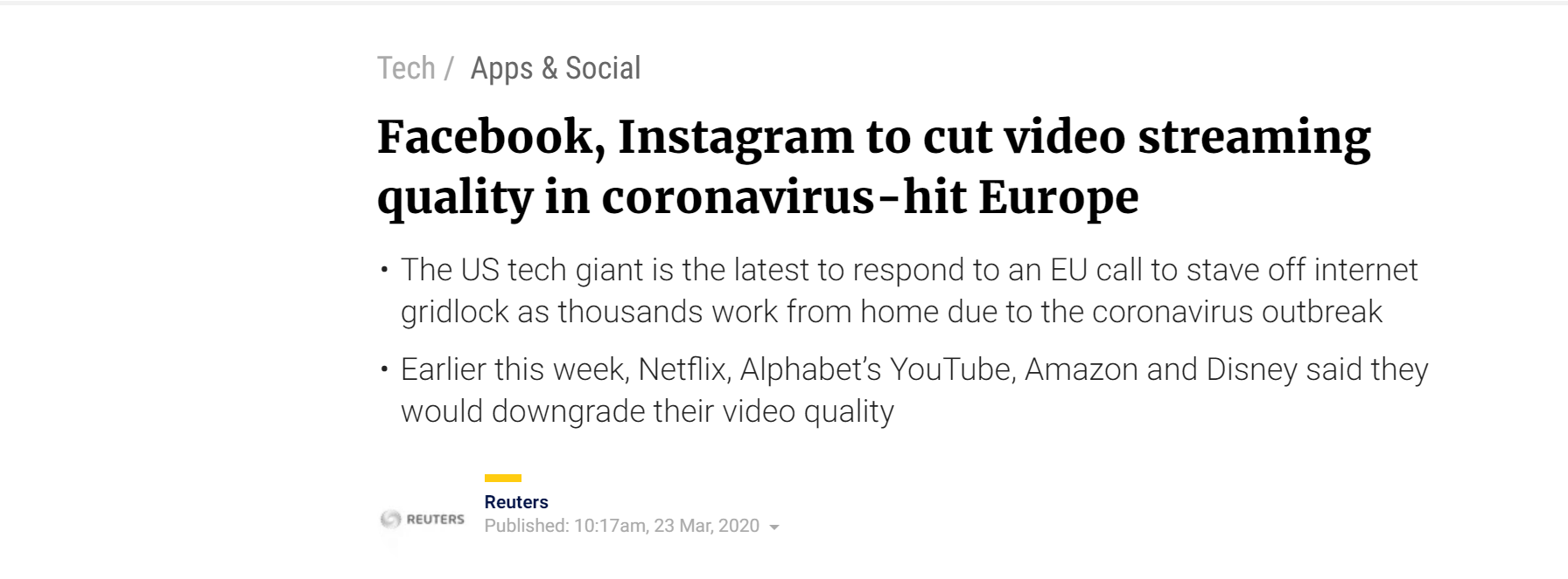 YouTube, Netflix and Facebook have announced that they will scale down video streaming quality to standard definition to control the bandwidth during the coronavirus outbreak
