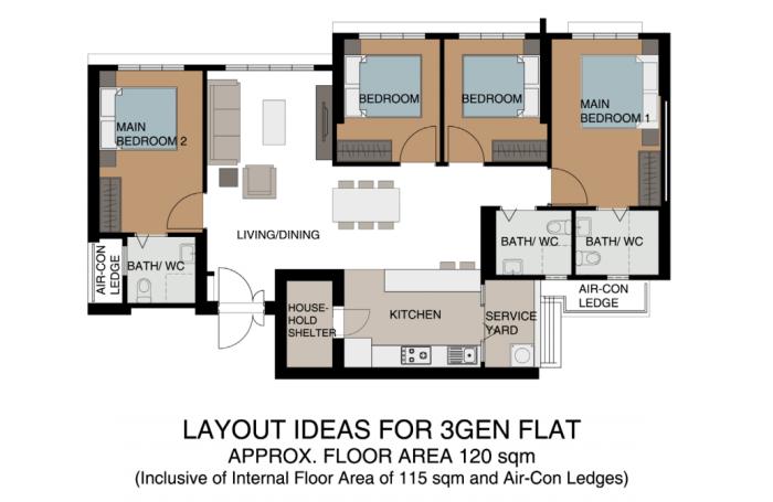 3Gen HDB flat floor plan by HDB