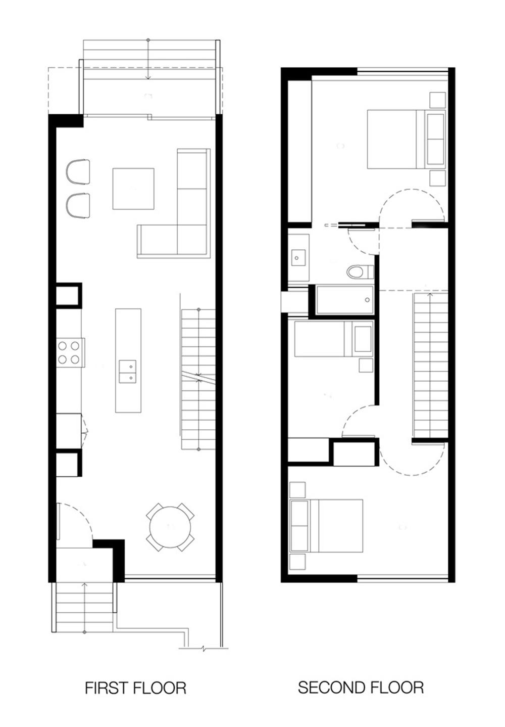 Denah rumah minimalis ini menjadi ciri khas hunian di Toronto (Foto: yr-architecture.com)