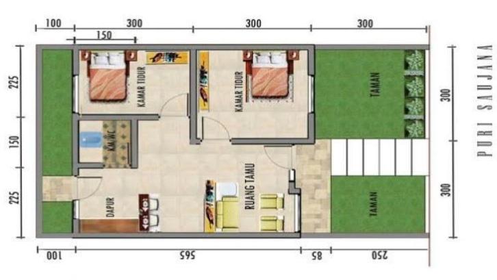 21 Denah Rumah Type 36 Untuk 1 Dan 2 Lantai Rumah Com