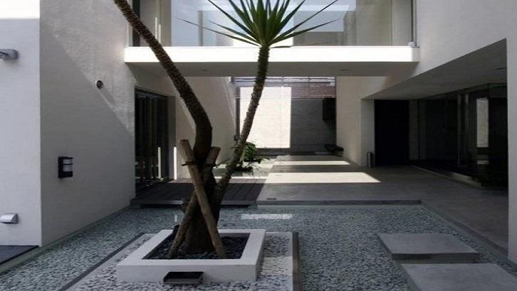 Taman minimalis di tengah rumah tidak memerlukan lahan yang luas. (Foto: 99.co)