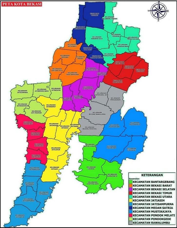 Peta wilayah Bekasi. (Foto: peta-hd.com)