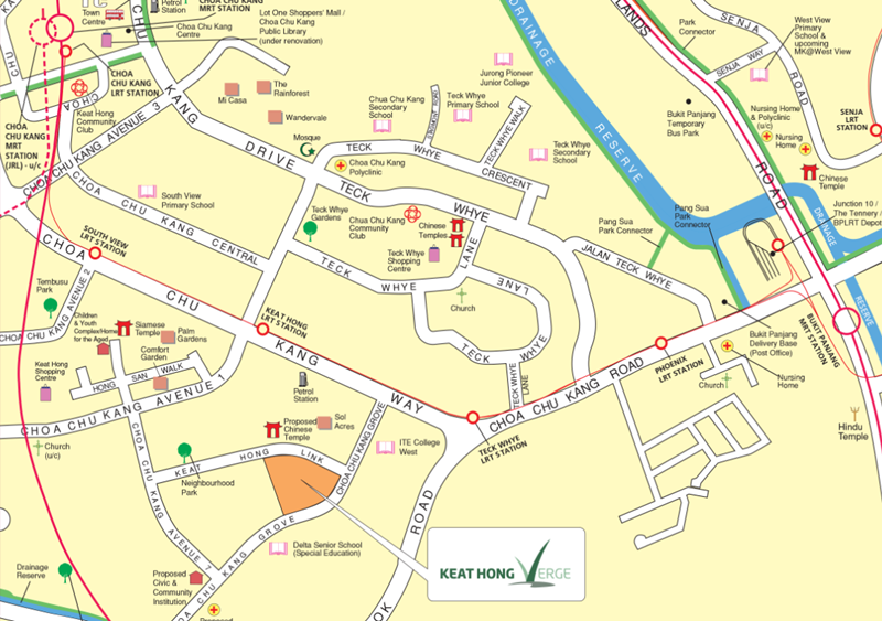 Keat Hong Verge BTO at Choa Chu Kang in August 2020 location map