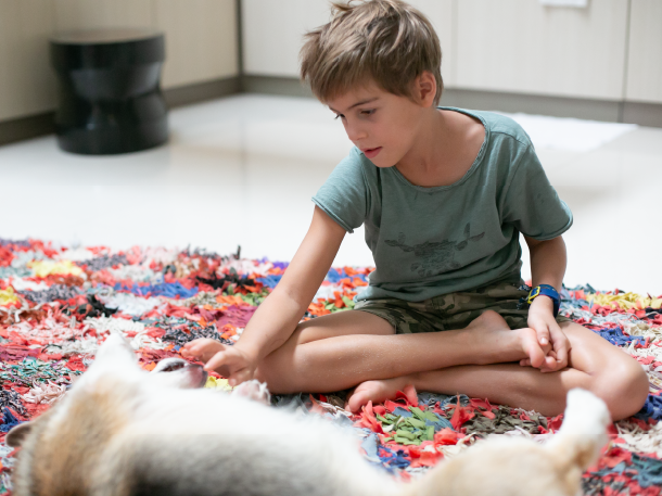 Laurent-verrier-home-stories-son-with-dog