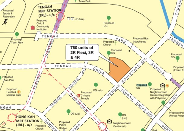 Map showing the location of the Tengah BTO units