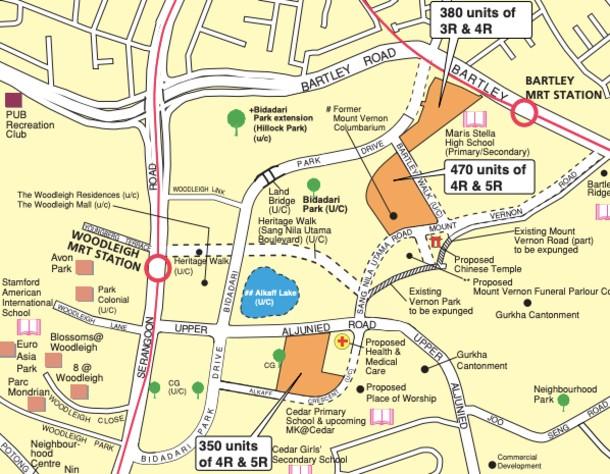 Map showing the location of the Toa Payoh (Bidadari) BTO units