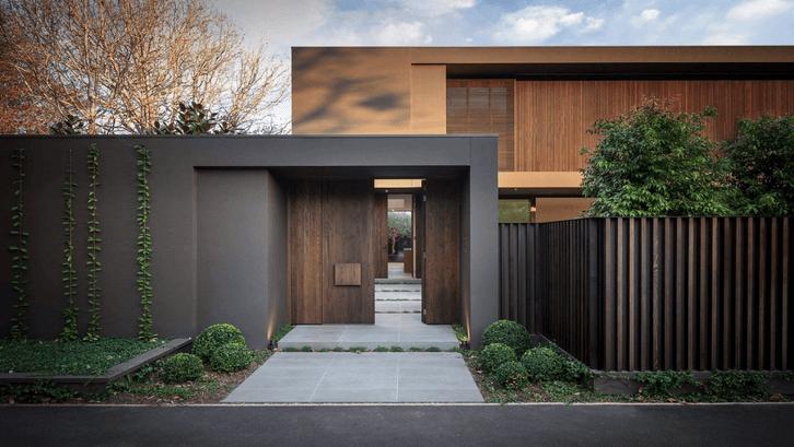 Halaman di depan rumah dengan desain minimalis modern. (Sumber: Pinterest)