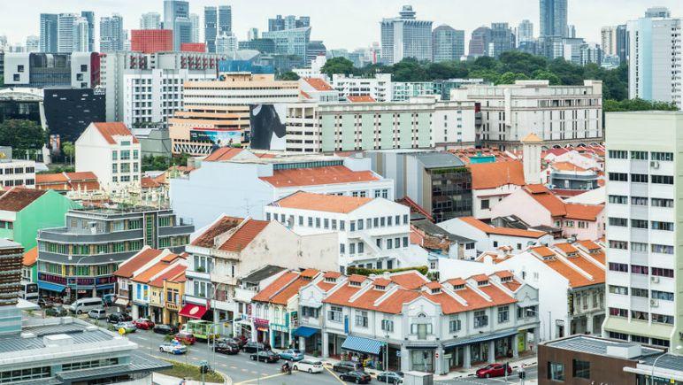 SINGAPORE-JUN 24 2017:Singapore cityscape aerial view