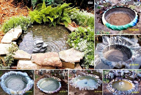 Bina kolam air di halaman rumah guna tayar terpakai.