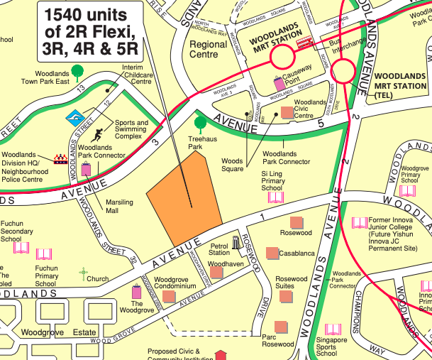 Locality map of the May 2021 Woodlands BTO flats