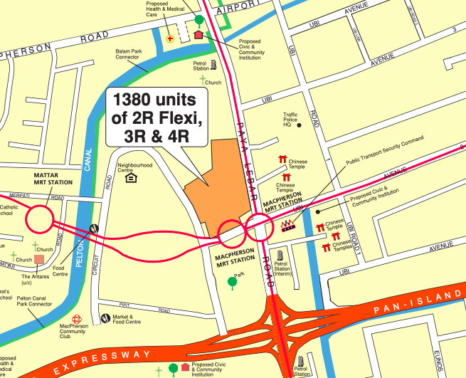 Locality map of the May 2021 Geylang BTO flats