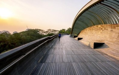 A man walking along Henderson Waves
