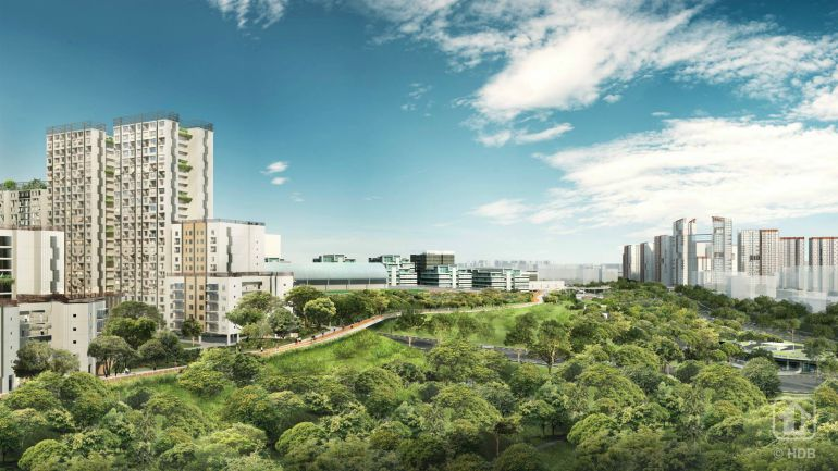 Artist impression of WoodsVista Gallery — a 1.9km scenic route connecting Woodlands Central to the Woodlands Waterfront