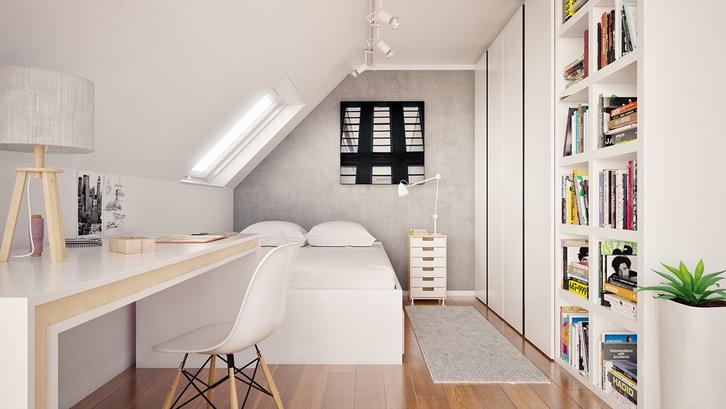 Area kerja minimalis pada kamar tidur sederhana. (Foto: Bartosz Domiczek & Szymon Tworz/ Home Designing)