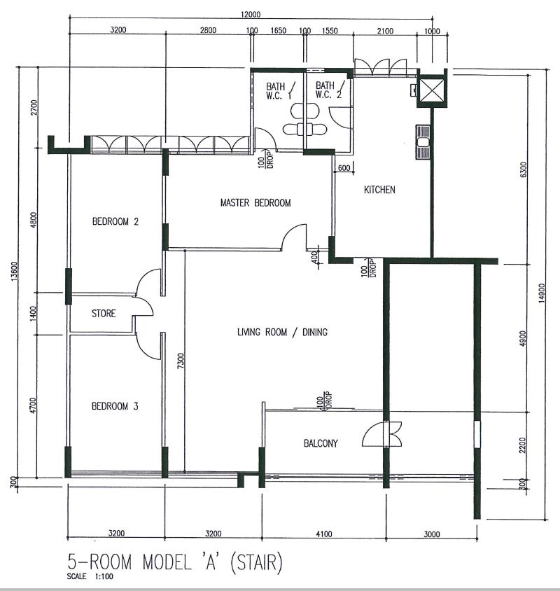 5 room flat floor plan