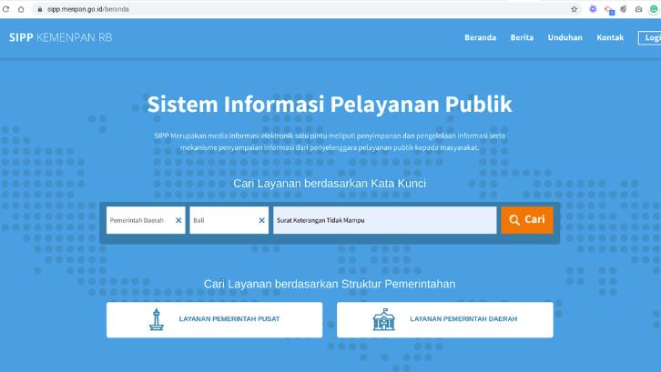 Sudah tersedia situs Pelayanan Publik untuk mencari informasi tentang persyaratan pembuatan SKTM. (Foto: SIPP KEMENPAN)