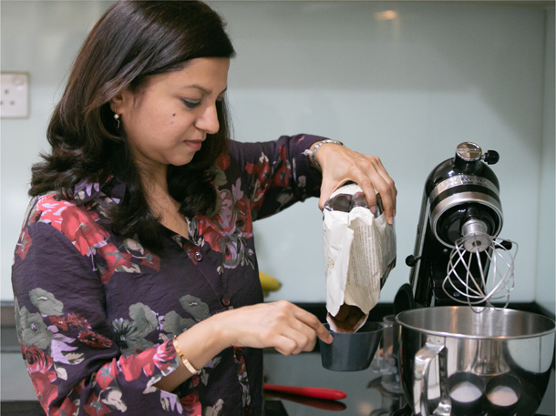 Meeshal baking at home