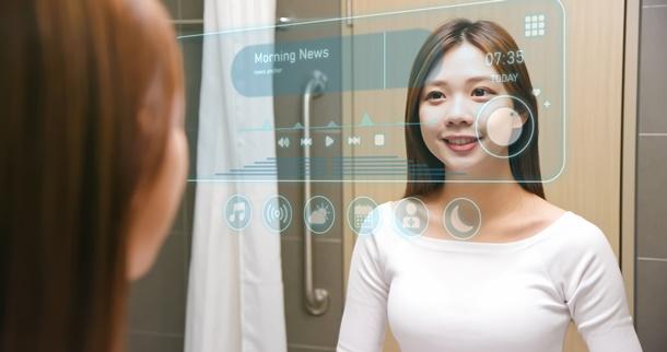 ตัวอย่าง Smart Mirror ในบ้านอัจฉริยะ