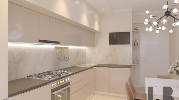 Ciptakan dapur yang terlihat mewah hanya dengan menggunakan warna beige. (Foto: Bondina)