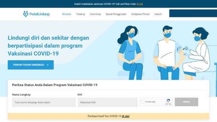 Anda bisa mengakses situs Peduli Lindungi untuk melakukan pendaftaran vaksinasi COVID-19. (Foto: Pedulilindungi.id)